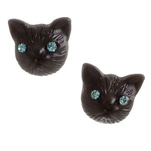 Little Black Cats Stud Earrings